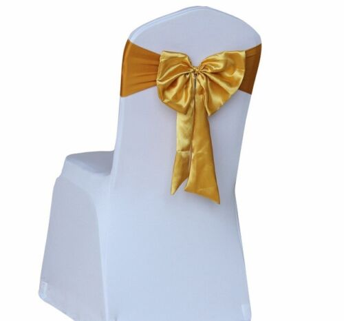 100pcs Stretch Spandex Chair Cover Bands With Satin Bow ReadyMade Sash Gold