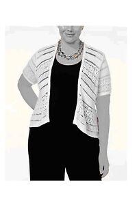 Tunic-Shrug-Cardigan-Sweater-White-Womens-0X-1X-2X-3X-NEW-Crochet-Style-amp-Co-Z413