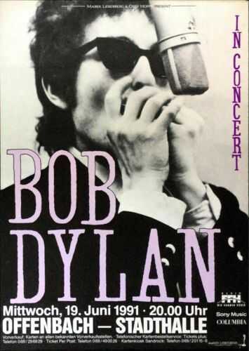 Concert VINTAGE BAND POSTERS Song Rock Travel Old Advert #ob Bob Dylan a