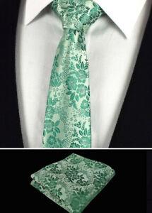 emballage élégant et robuste variété de dessins et de couleurs détaillant en ligne Détails sur Floral Vert Menthe Cravate Hommes Mouchoir Soie Poche Carré  Mouchoir