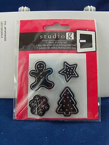 NEW-STUDIO-G-CLEAR-STAMP-SET-HOLIDAY-COOKIE-DESIGNS-GINGERBREAD-STAR-TREE-VC0049