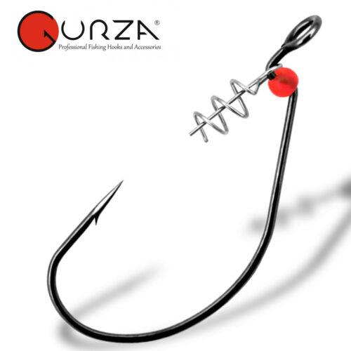 Angelhaken für Hecht 5 Wide Gap Haken mit Schraubspirale Gurza Worm 310 LEHS
