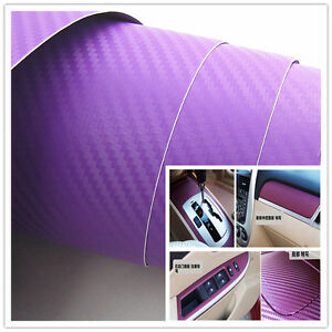 30x127cm purple carbon fiber vinyl wrap sticker car interior console panel decal ebay. Black Bedroom Furniture Sets. Home Design Ideas