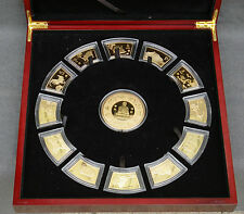 Chinese Lunar Calendar 24-kt Gold-Plated Medallion Set