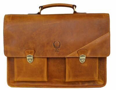 Ledertasche Aktentasche Umhängetasche Für Frauen und Männer XTB Orange