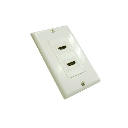 2 HDMI Port White Plate for Wall Outlet Jack Dual Ports