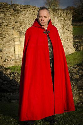 Mantello Di Lana Rossa Con Fodera In Cotone, Larp Medievale Fancydress, Ridotta-mostra Il Titolo Originale