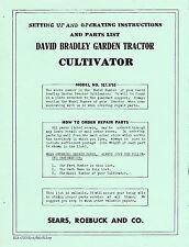 David Bradley Garden Tractor Cultivator Model 9175755 Instructions Reprint