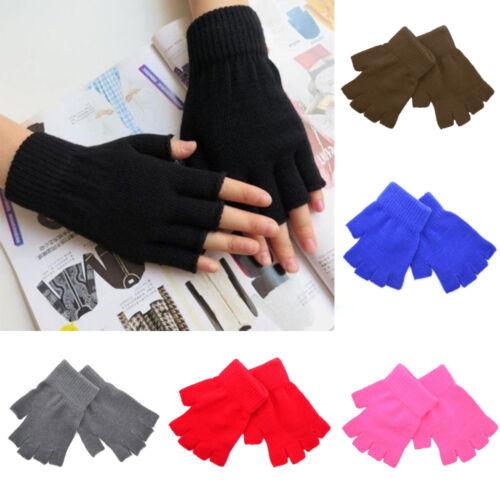 Men Black Knitted Stretch Elastic Warm Half Finger Fingerless Gloves for Winter