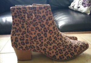 Ladies Leopard Print Ankle boots Size 7