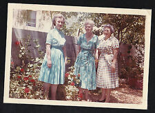 Antique Vintage Photograph Three Women Wearing Old Time House Dresses 1960's