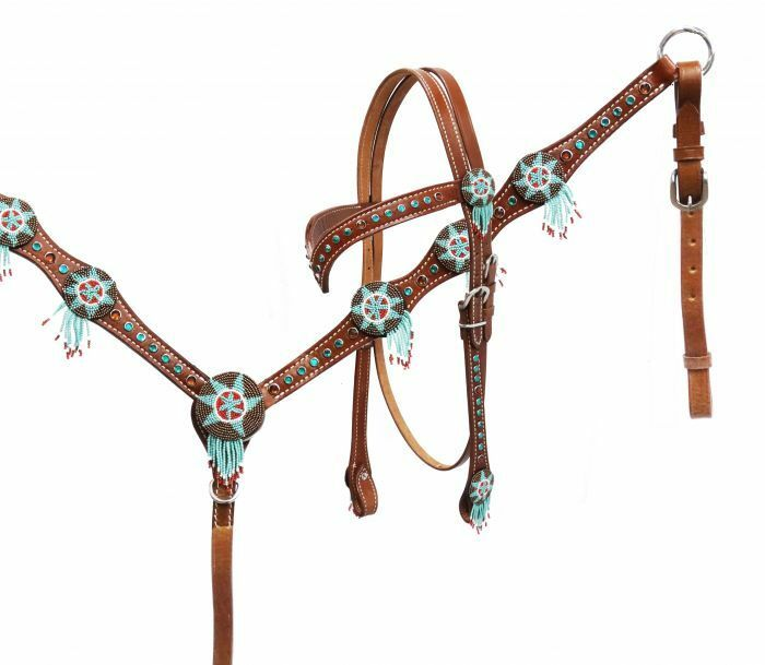 Showman DREAM CATCHER TEAL Beaded Leather Bridle Breast Collar & Reins SET