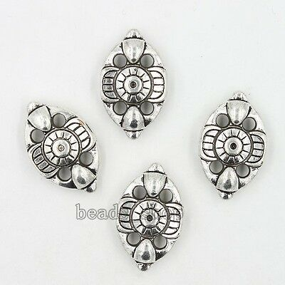 10x Retro Antique Silver Eye Pattern Oval Alloy Charms European Beads Jewelry BS