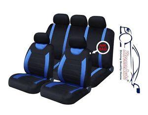 06+ GRANDE PUNTO PREMIUM FULL CAR SEAT COVER SET BLUE PIPING