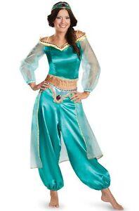 Halloween Aladdin Princess Jasmine Adult Kid Cosplay Costume Suit Green Dress