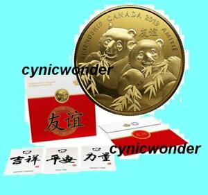 2019-Canada-Pandas-Pure-Silver-Gold-Plated-Coin-Golden-Gift-Friendship-in-stock
