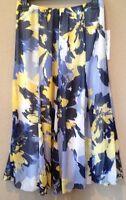 $64 Ruby Rd. Perennial Pop Navy Blue/ Yellow /white Skirt Womens Size 8