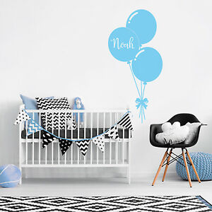 Details about Custom Name Personalise Balloon Kids Baby Boy Bedroom Wall  Sticker Nursery Decal