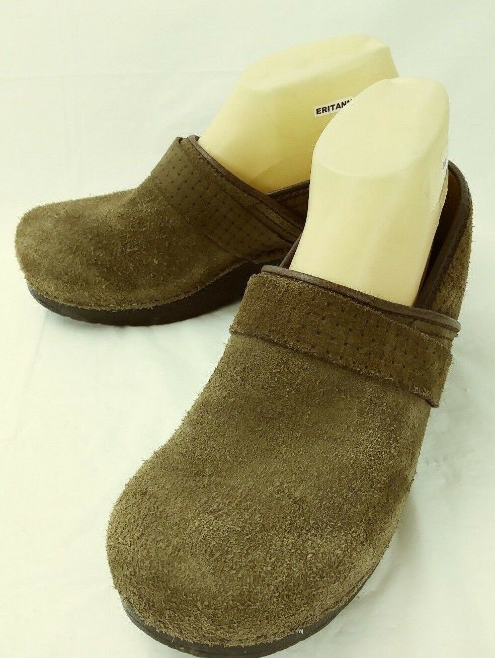 Sanita Wos Shoes Danish Clogs US 9.5 Brown Suede Woven Slip-on Wedge 3387