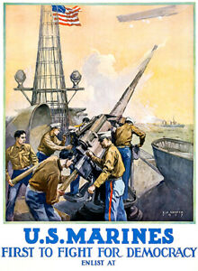 US Marine Corps Service Land Sea Recruitment Poster 1917 World War I