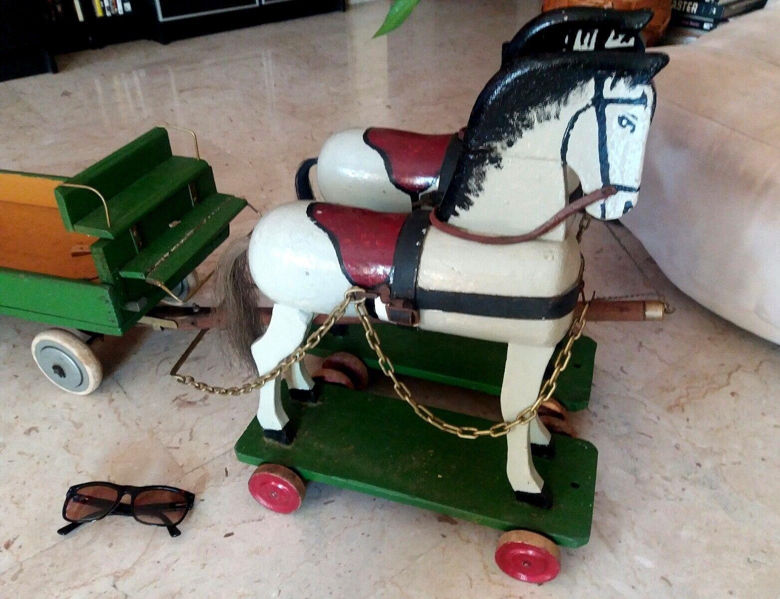 Antico Giocattolo anni 60' - Old Juguete Horse Coppia di Cavalli in legno con Cochero