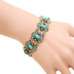 Bohemian Fashion Women Silber Türkis Armreif Armband Armband Schmuck hyBWXUI