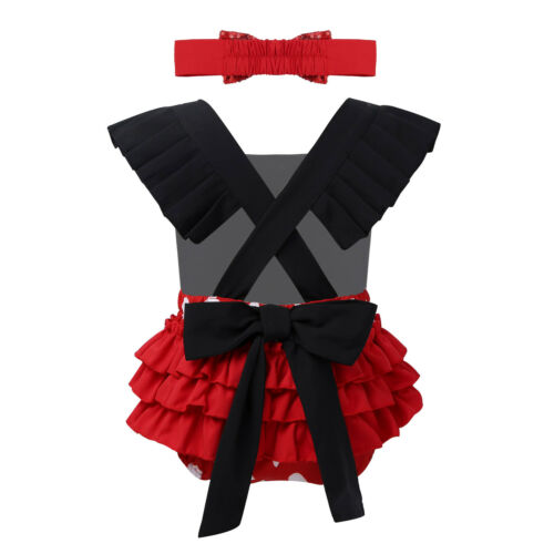 Newborn Baby Girls Dress Romper Ruffled Jumpsuit Christmas Outfit Birthday Party