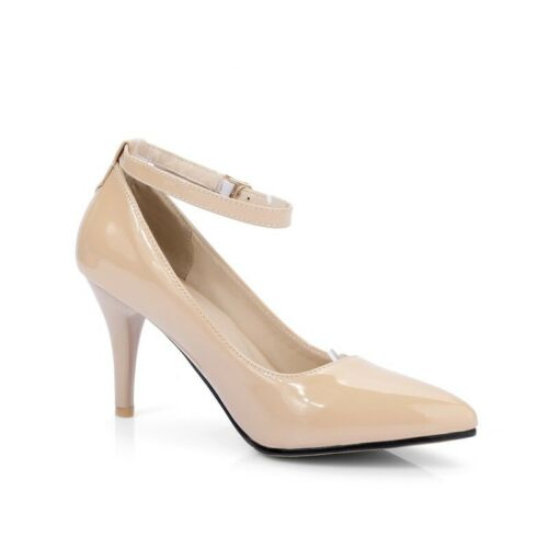 Details about  /Women Simple Pattern Pointy Toe Ankle Strap Stilettos High Heel Pumps Shoes Chic