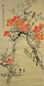 Vintage-Chinese-Watercolor-FLOWER-BIRD-Wall-Hanging-Scroll-Painting-w-SEAL-MARK