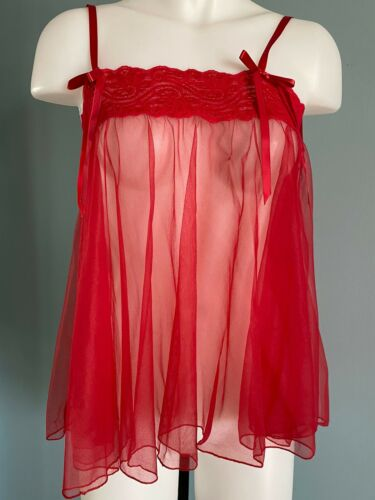 Vintage Red Lace Sheer Babydoll Ruffles