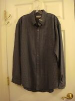 Men's Sedgefield By Wrangler Blue Plaid Long Sleeve Button Collar Dress Shirt L