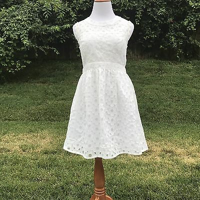 Altar D State Womens Dress L Floral Lace Solid White Mini