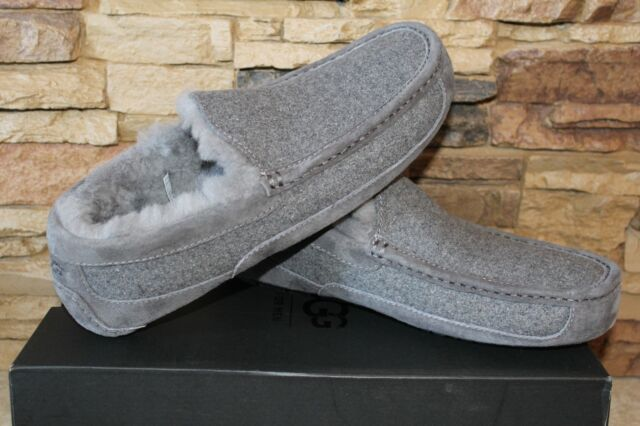 UGG Men s Ascot Wool UGGpure Lined Slip on Moccasin Slippers Gray 15 ... 39723a4aa