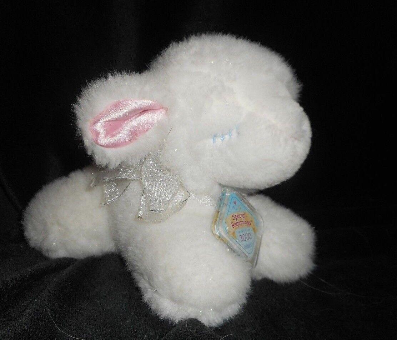 7  2000 EDEN SPECIAL BEGINNINGS WHITE BABY SHEEP   LAMB STUFFED ANIMAL PLUSH TOY