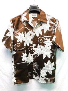 Vintage 70s Diamond Head Hawaii M Brown White Shirt Hawaiian Disco Mens Polyeste