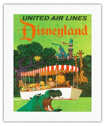 Disneyland California Jungle Hippo United Air Stan Galli Vintage Print Giclee