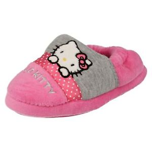Image is loading Girls-HELLO-KITTY-pink-and-grey-slippers-Retail- bec965d38c67
