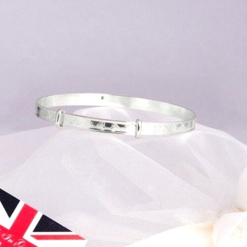 925 Silver Teddy Baby Bangle Christening Bracelet Kids Jewellery Gift