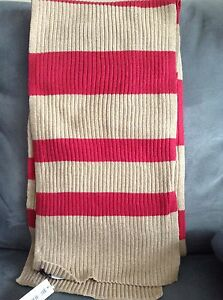 ... -END-WOMEN-039-S-TEABERRY-HEATHER-YARN-RIBBED-STRIPED-SCARF-BRAND-NEW