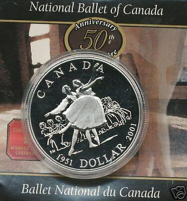 2001 Cased Silver Proof Silver Dollar Canadian Ballet National