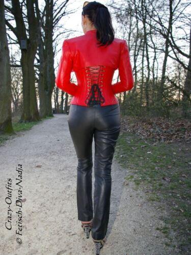 Col 58 en cuir 32 rouge montant Xxxl Bolero Veste en cuir XS Taille Bolero wYx6TZq