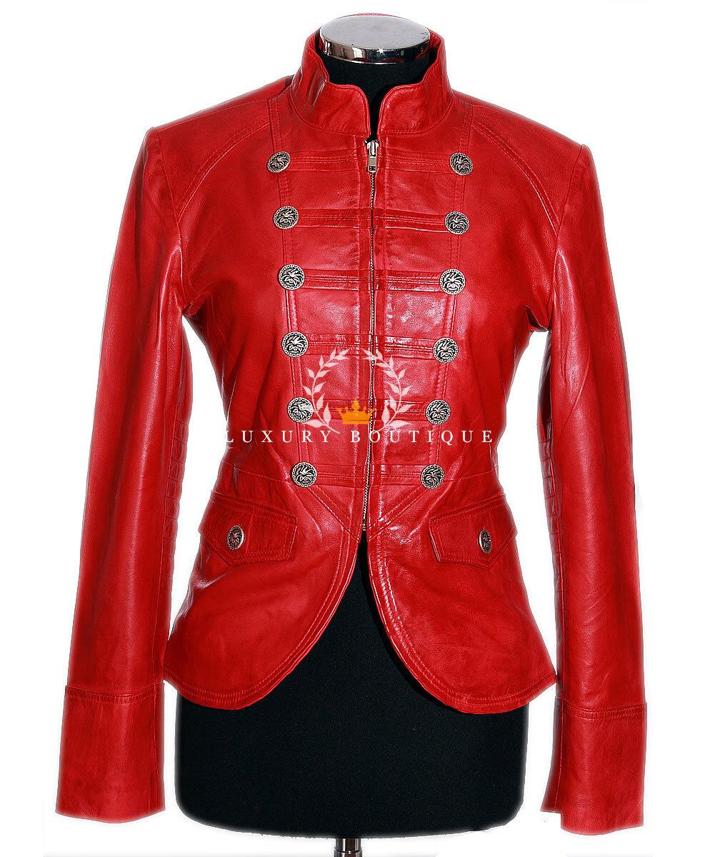 SCochelett Rojo De Mujer Corto Auténtico Lavado Cuero Piel  Cordero  ventas en linea