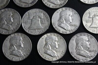 """90/% Silver Franklin Half Dollars Benjamin Franklin Halves $1 Face Value /""""Junk/"""""""