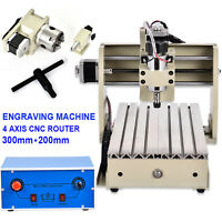 4 Axis 300w Cnc Router 3020 Engraver Engraving Machine Carving 3d Cutter Us Fast