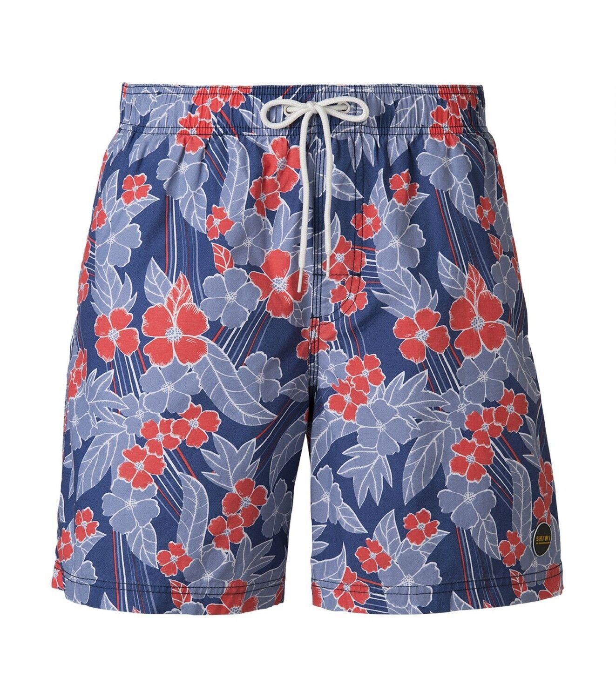SHIWI® Badeshorts Boardshorts Strandshort Shorts Badehose blue red floral NEU