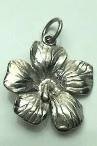 Marked-Sterling-STER-Silver-Geranium-Fantasy-Flower-Bracelet-Charm-C801