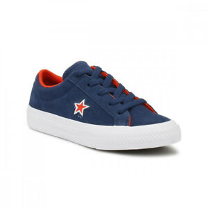 41eeb55cf545 Converse One Star Junior Navy   White Canvas Ox Trainers UK Sizes  1 ...