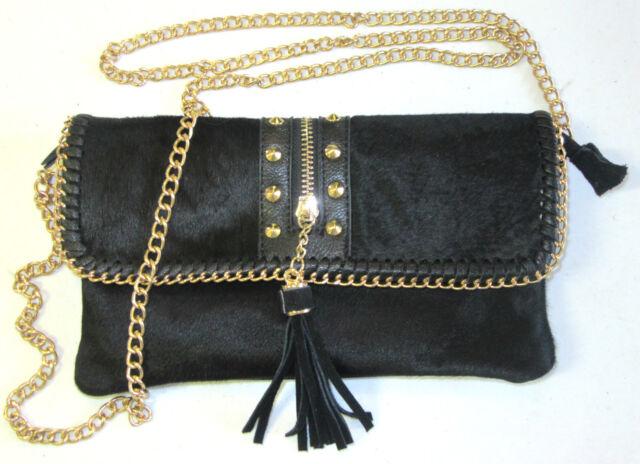 1d02cf8fc346 NEW $98 Sondra Roberts BLACK LEATHER Calf-Hair CLUTCH WRISTLET BAG w/ GOLD  CHAIN