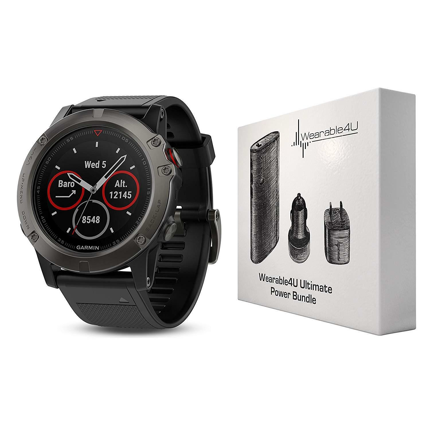 Garmin Fenix 5X Sapphire GPS Watch Wearable4U Power Bundle 010-01733-00