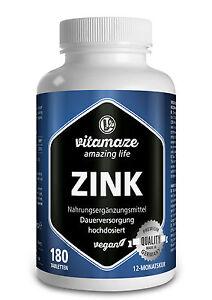 Zink Tabletten hochdosiert 50mg Zinc pro 2 Tage vegan für Haut & Haar & Nägel